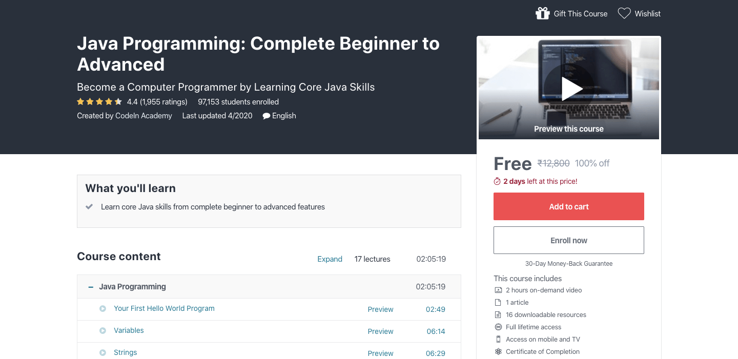 Free Java Programming Certification Course