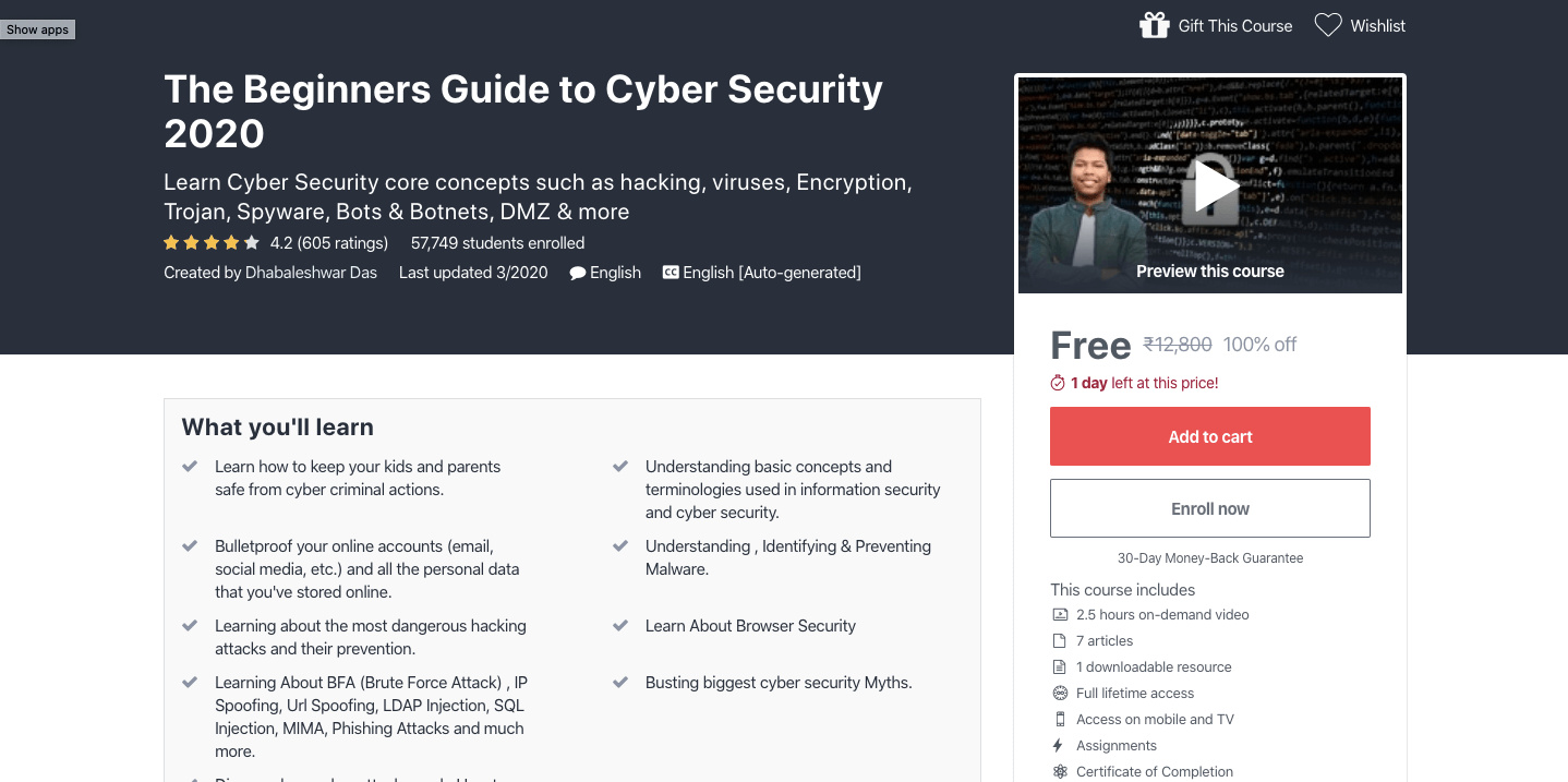 Free Cyber Security Certification Course