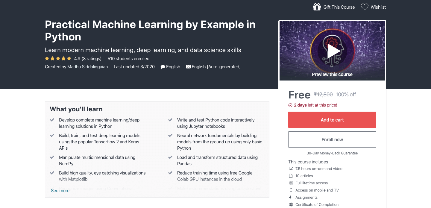 Free Practical Machine Learning by Example in Python Certification Course
