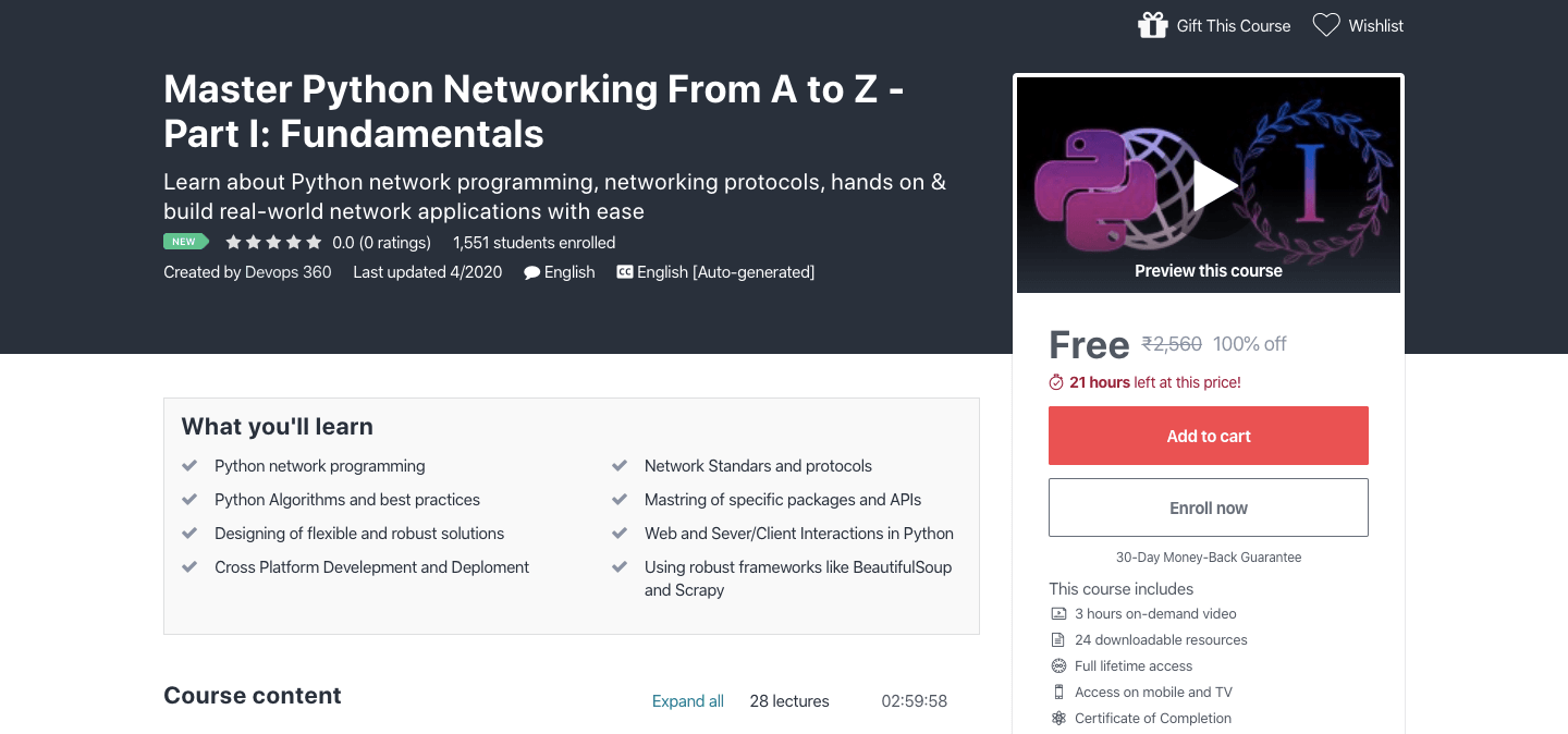 Free Python Networking Certification Course