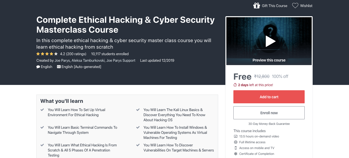 Free Ethical Hacking & Cyber Security Certification Course
