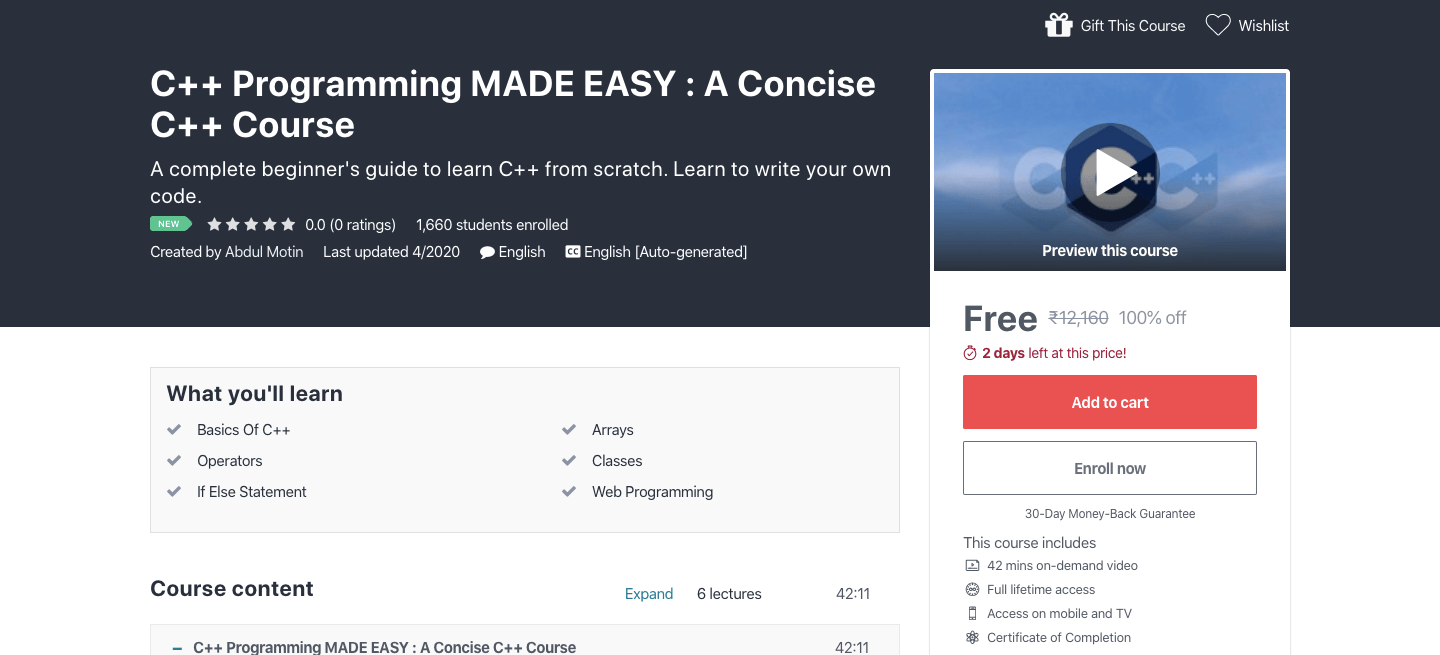 Free C++ Programming Certification Course