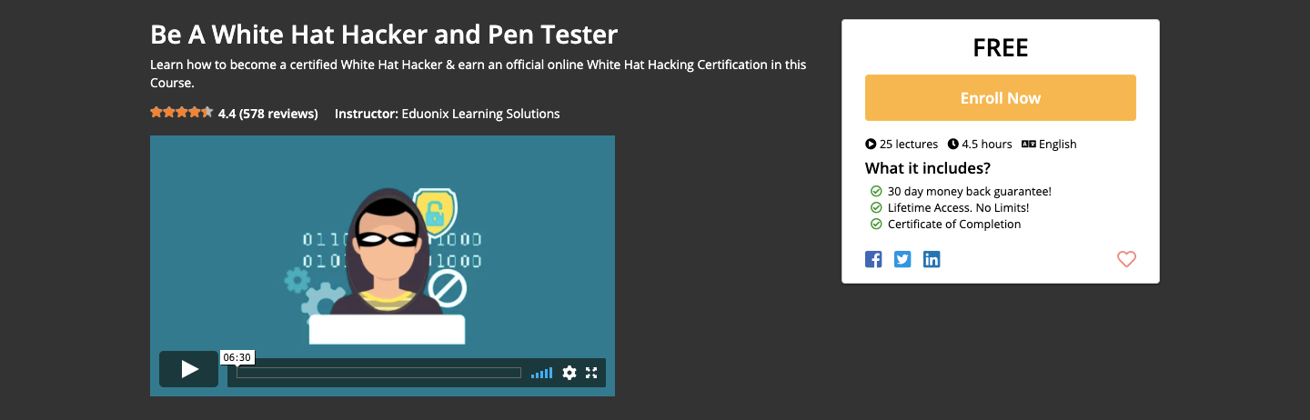 Free White Hat Hacker and Pen Tester Certification Course