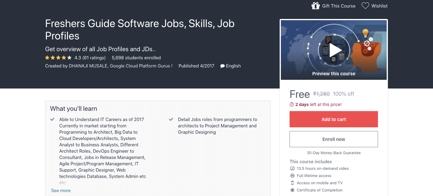 Free Freshers Guide Software Jobs, Skills, Job Profiles Course