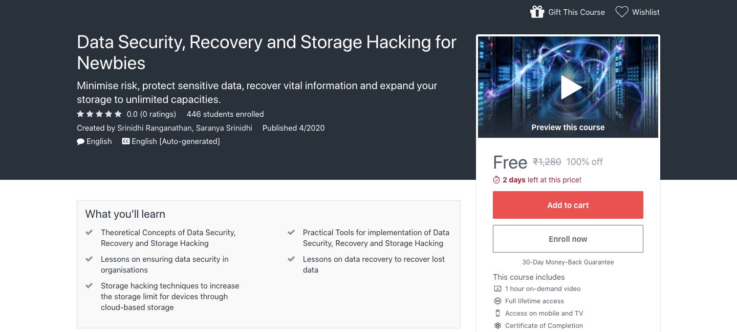 Free Data Security, Recovery and Storage Hacking Certification Course