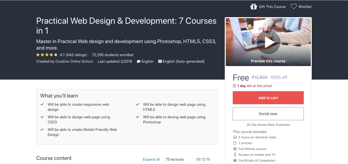 Free Practical Web Design & Development Certification Course