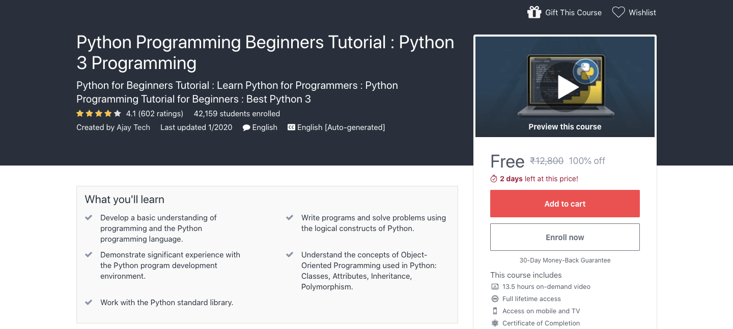 Free Python Programming Certification Course