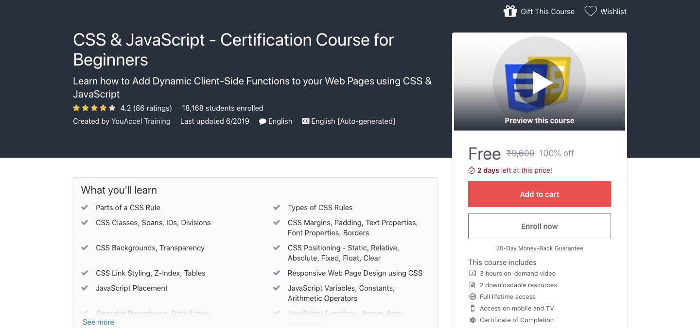 Free CSS & JavaScript Certification Course