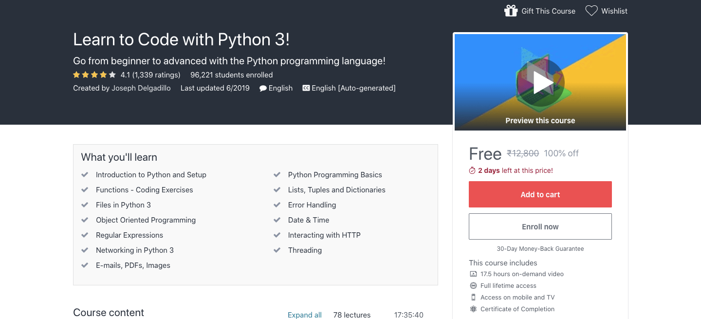 Free Python 3 Certification Course