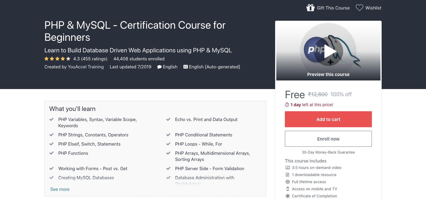 Free PHP & MySQL Certification Course