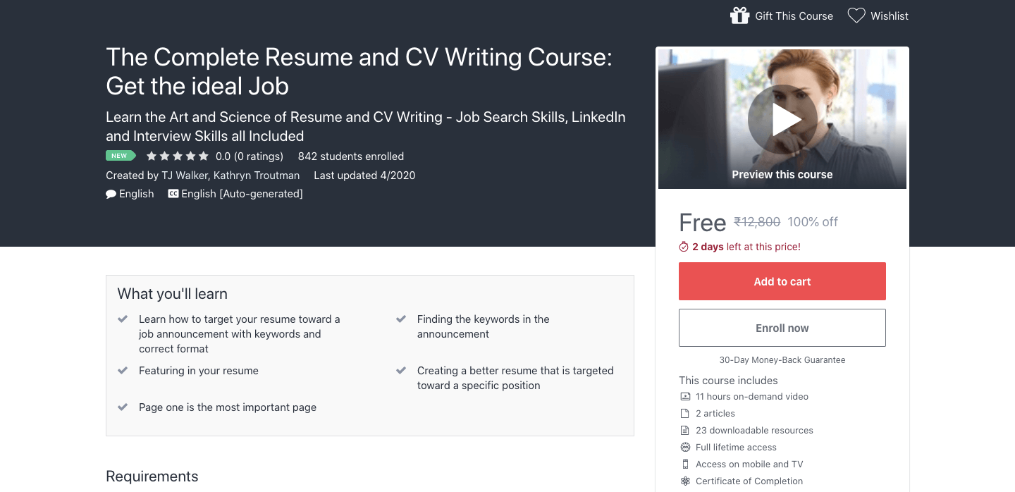 Free Complete Resume and CV Writing Course