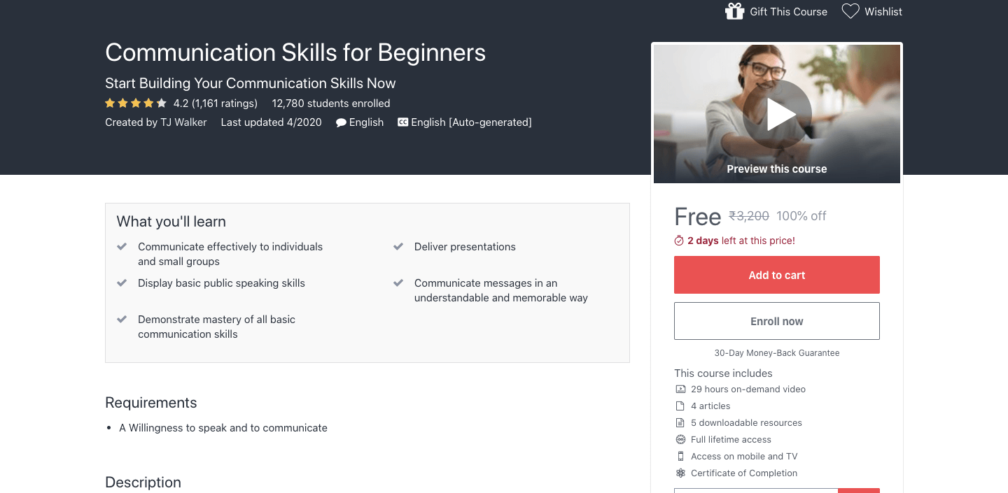 Free Communication Skills for Beginners Course