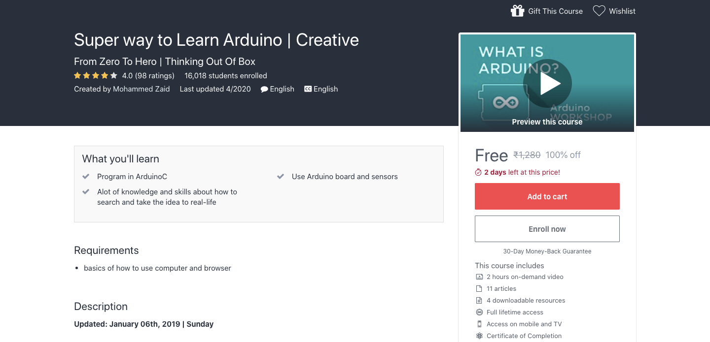 Free Arduino Certification Course