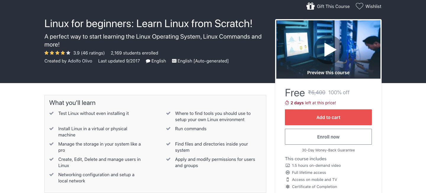 Free Linux For Beginners Certification Course