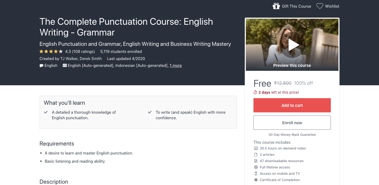 The Complete Punctuation Course: English Writing - Grammar