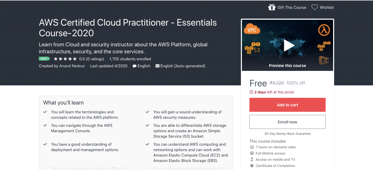 AWS Certified Cloud Practitioner - Essentials Course-2020