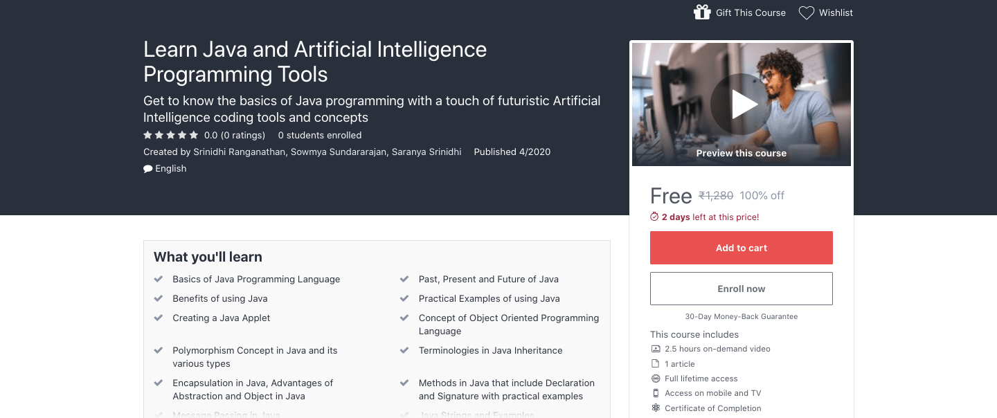 Learn Java and Artificial Intelligence Programming Tools Course