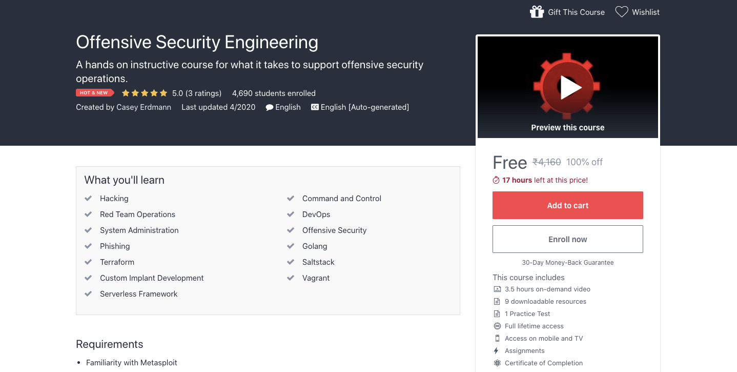Free Offensive Security Engineering Certification Course