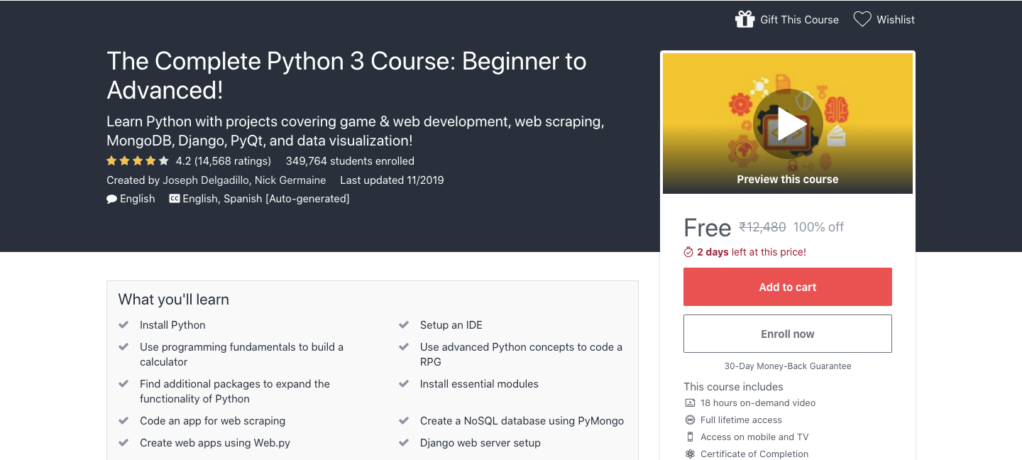 The Complete Python 3 Course: Beginner to Advanced