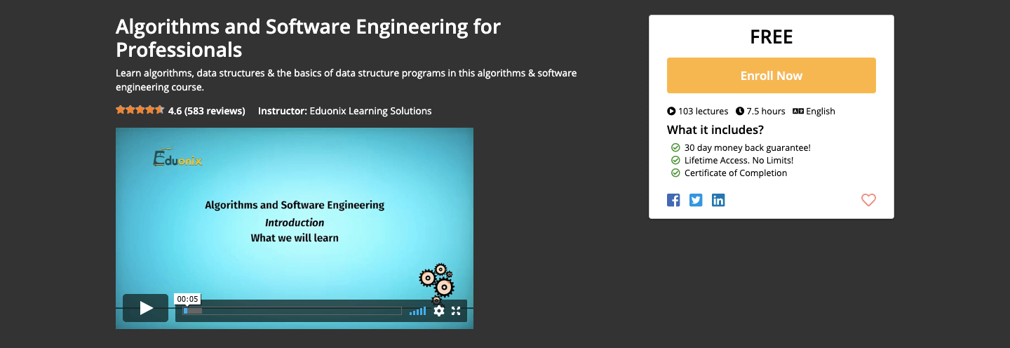 Algorithms and Software Engineering for Professionals