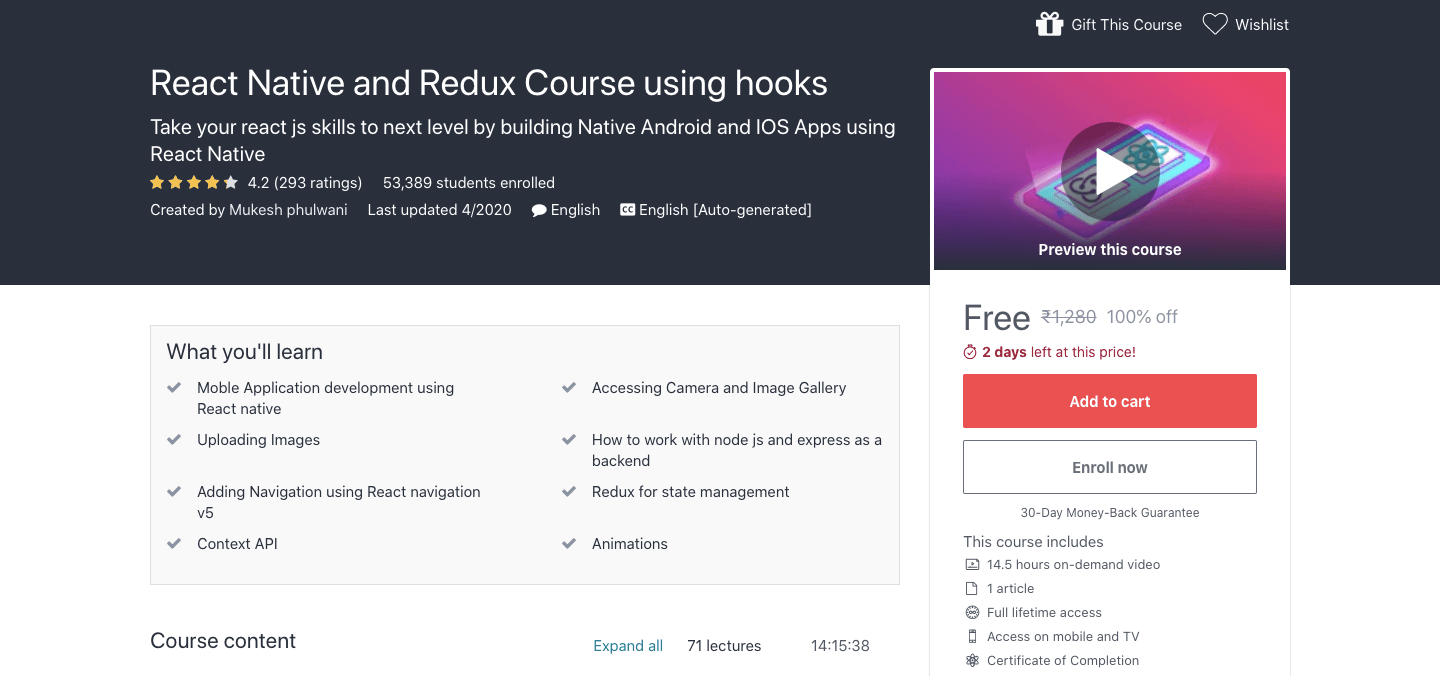 React Native and Redux Course using hooks