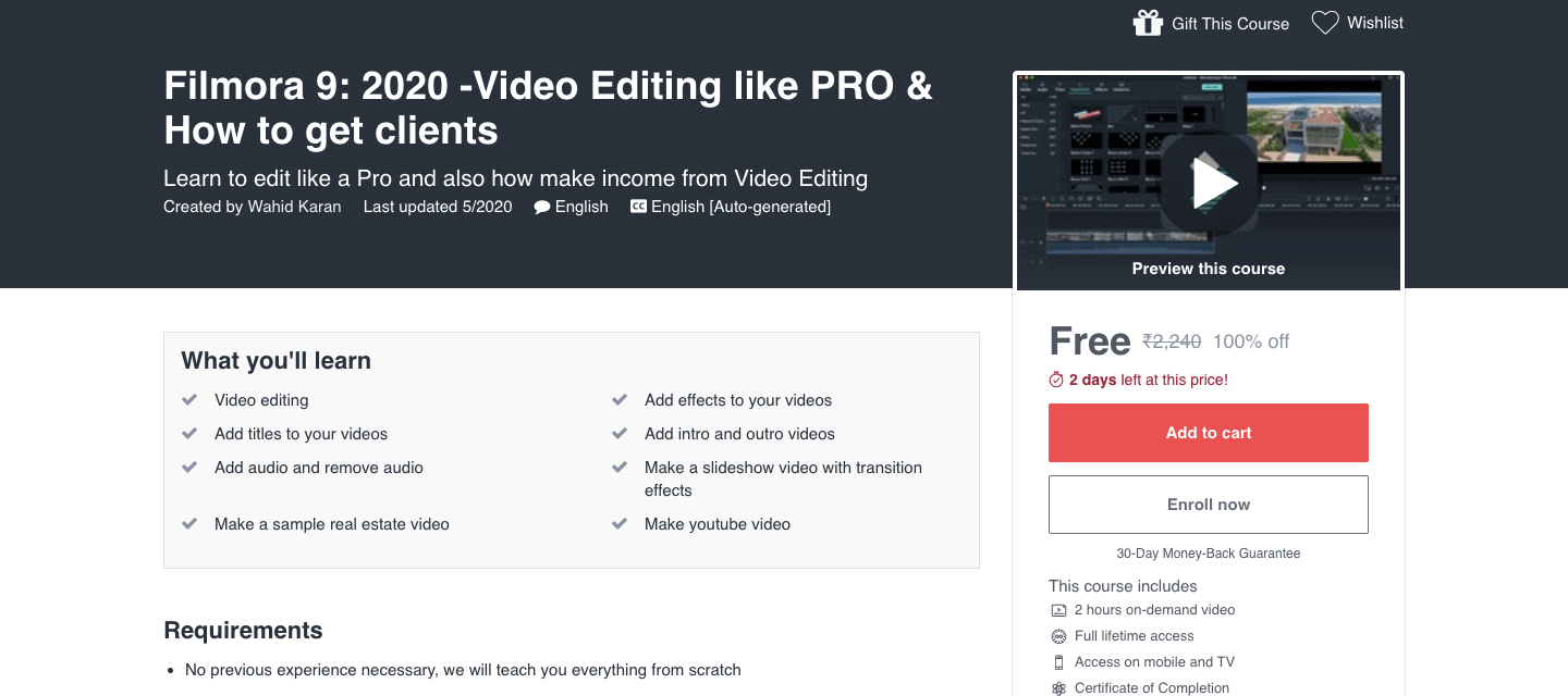 Filmora 9: 2020 -Video Editing like PRO & How to get clients
