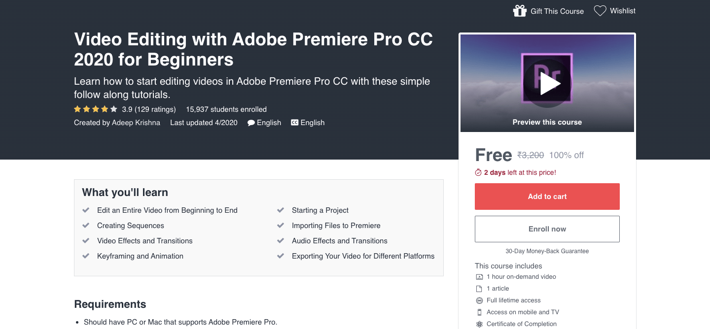 Video Editing with Adobe Premiere Pro CC 2020 for Beginners