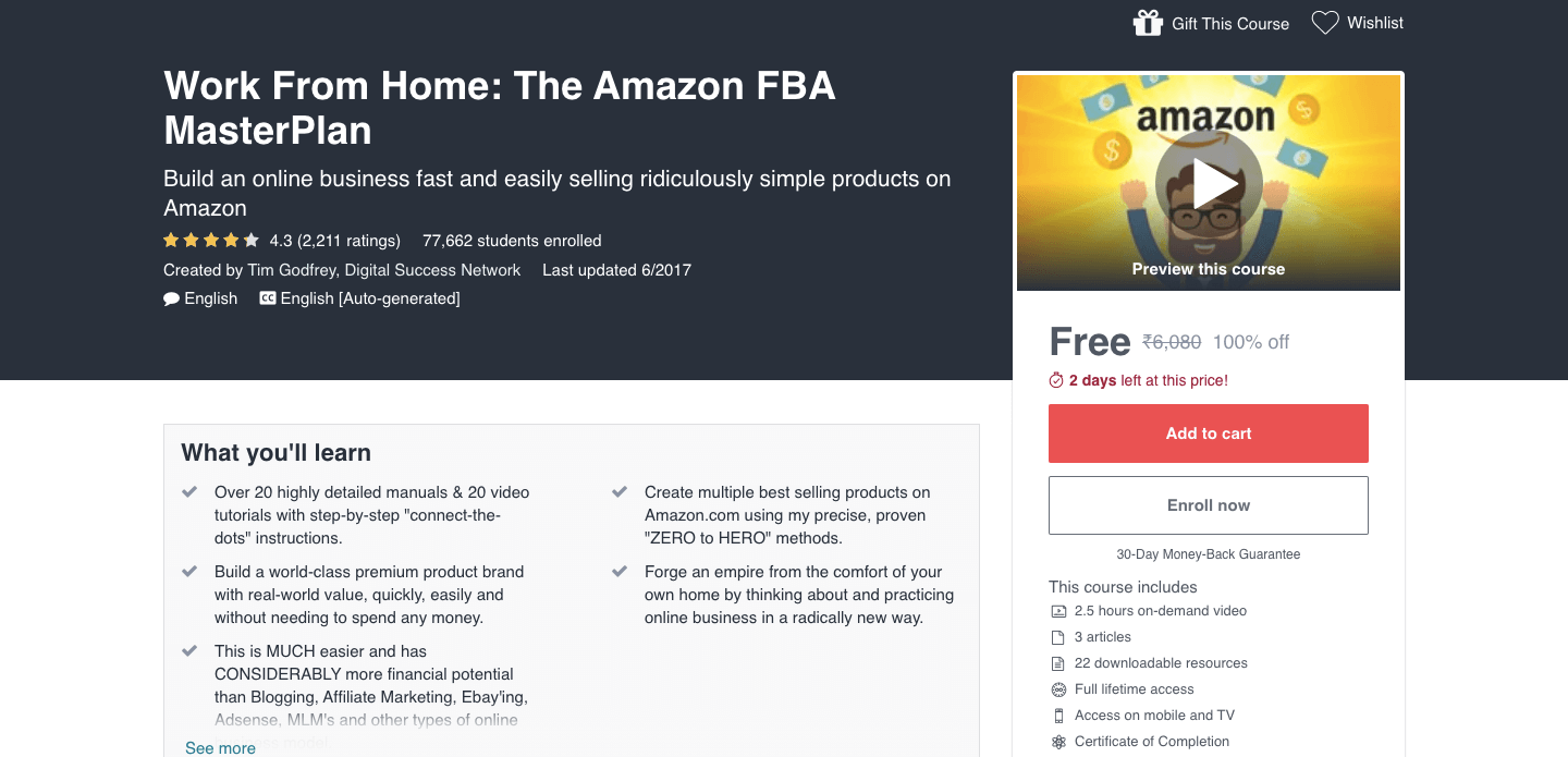 Work From Home: The Amazon FBA MasterPlan