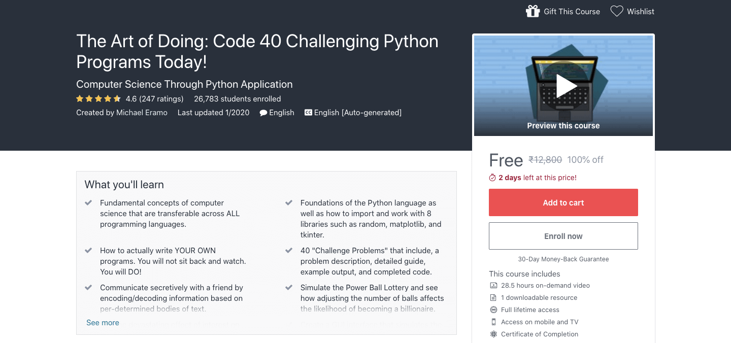 The Art of Doing: Code 40 Challenging Python Programs Today!