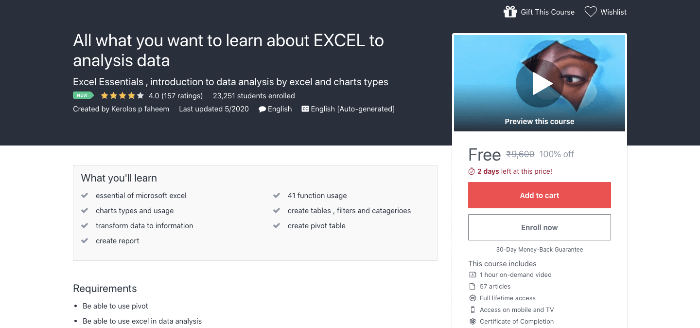 All what you want to learn about EXCEL to analysis data