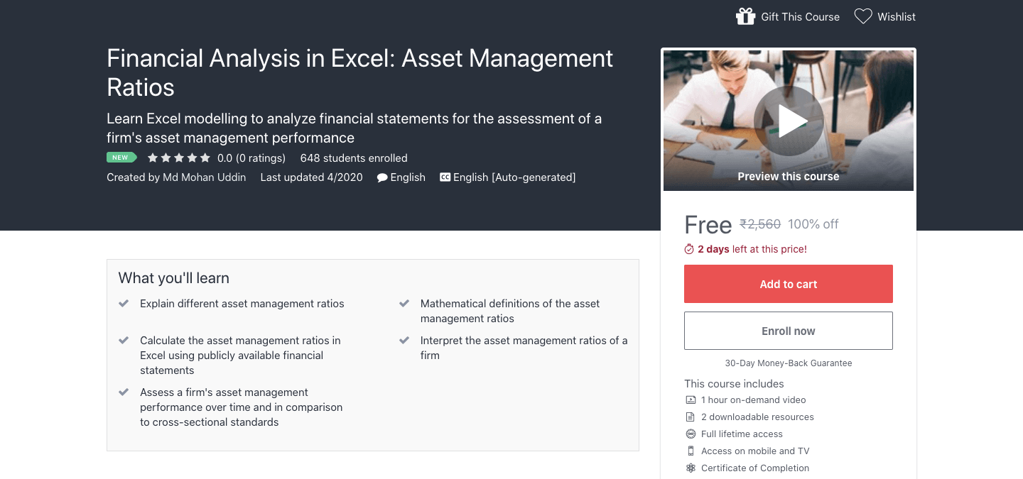 Financial Analysis in Excel: Asset Management Ratios