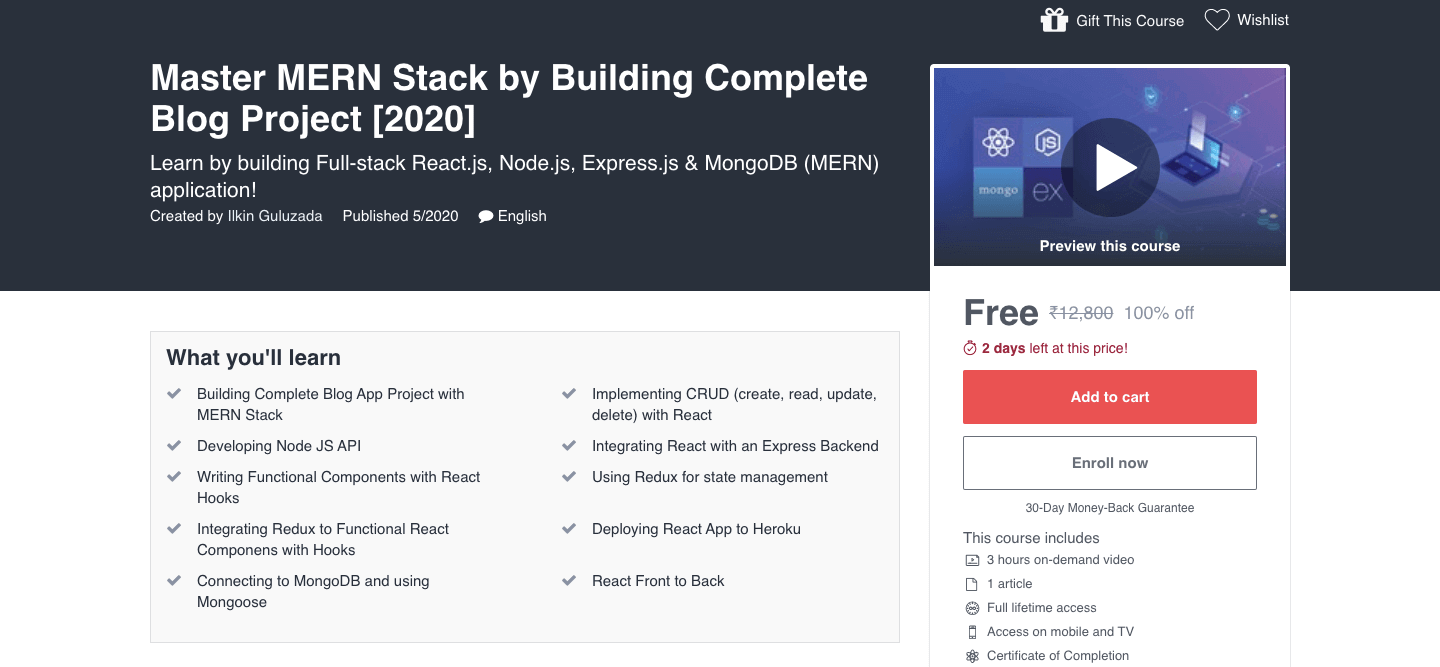 Master MERN Stack by Building Complete Blog Project [2020]
