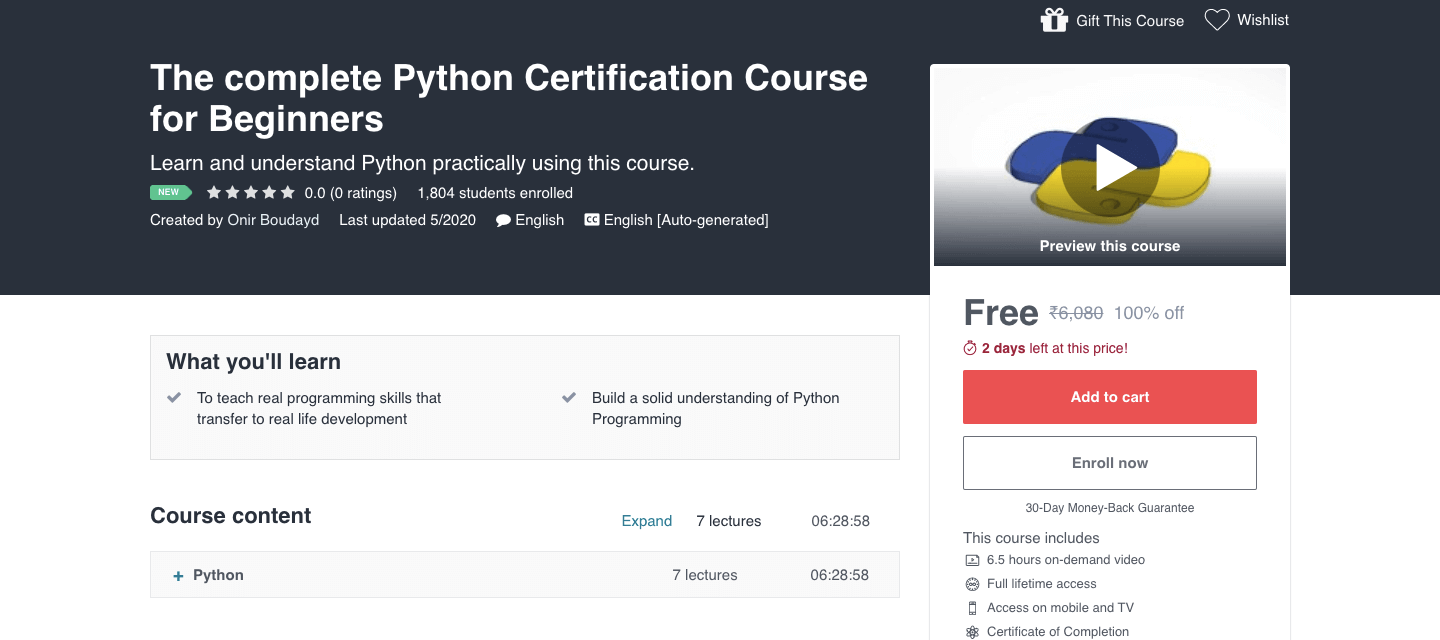 The complete Python Certification Course for Beginners