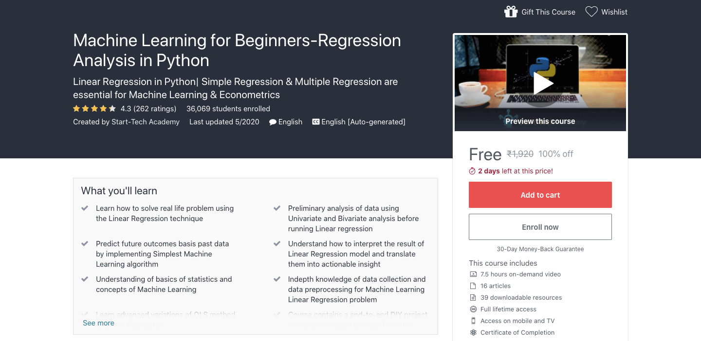 Machine Learning for Beginners-Regression Analysis in Python