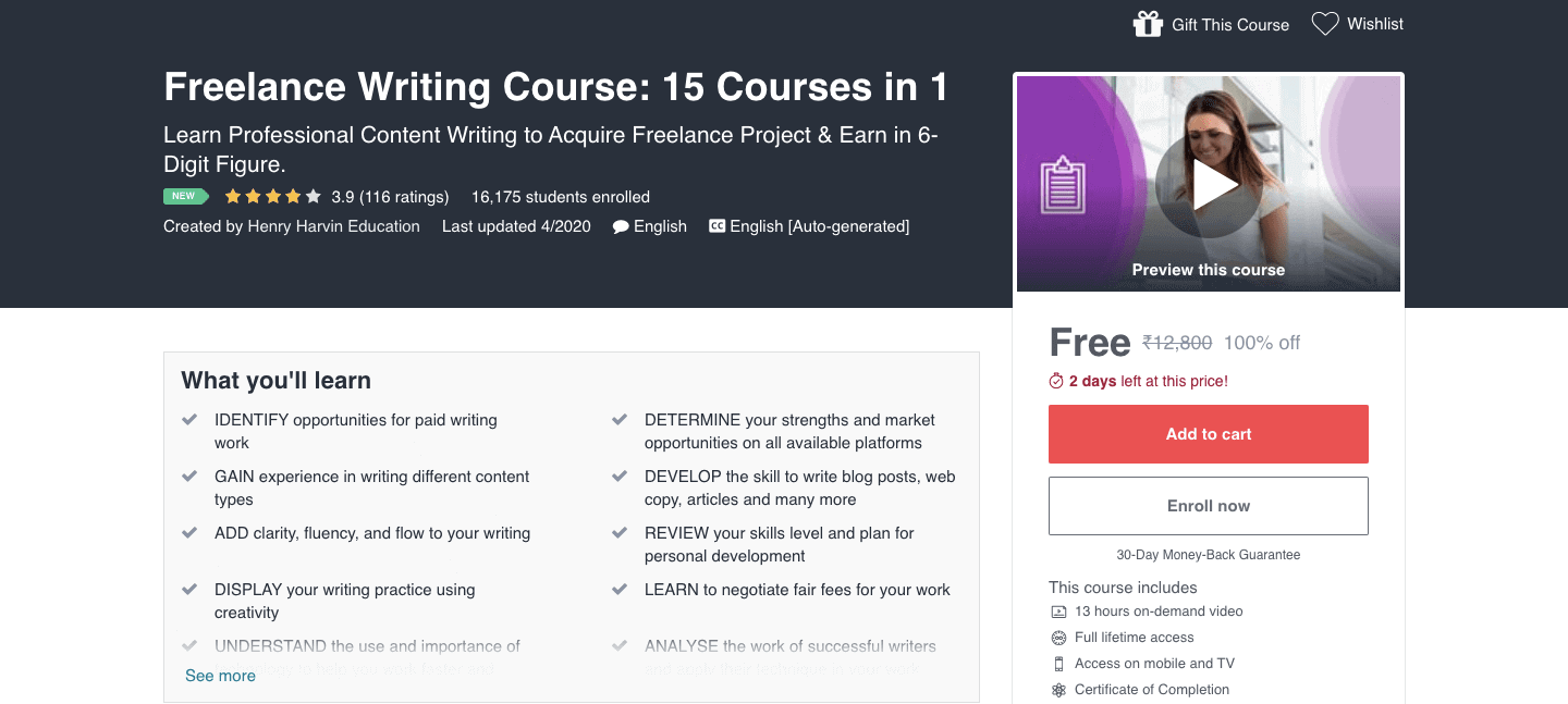 Freelance Writing Course: 15 Courses in 1