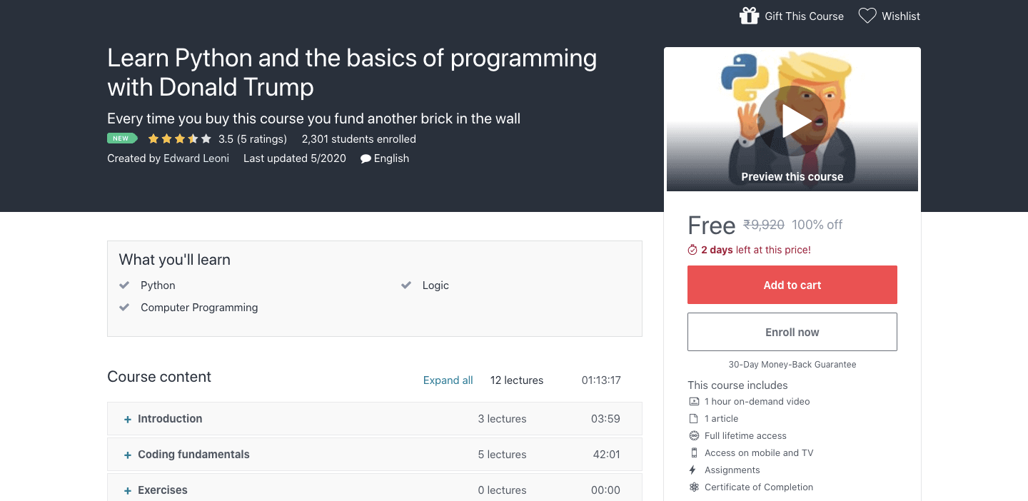Learn Python and the basics of programming with Donald Trump