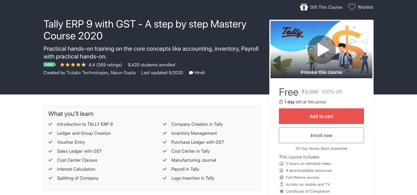 Tally ERP 9 with GST - A step by step Mastery Course 2020