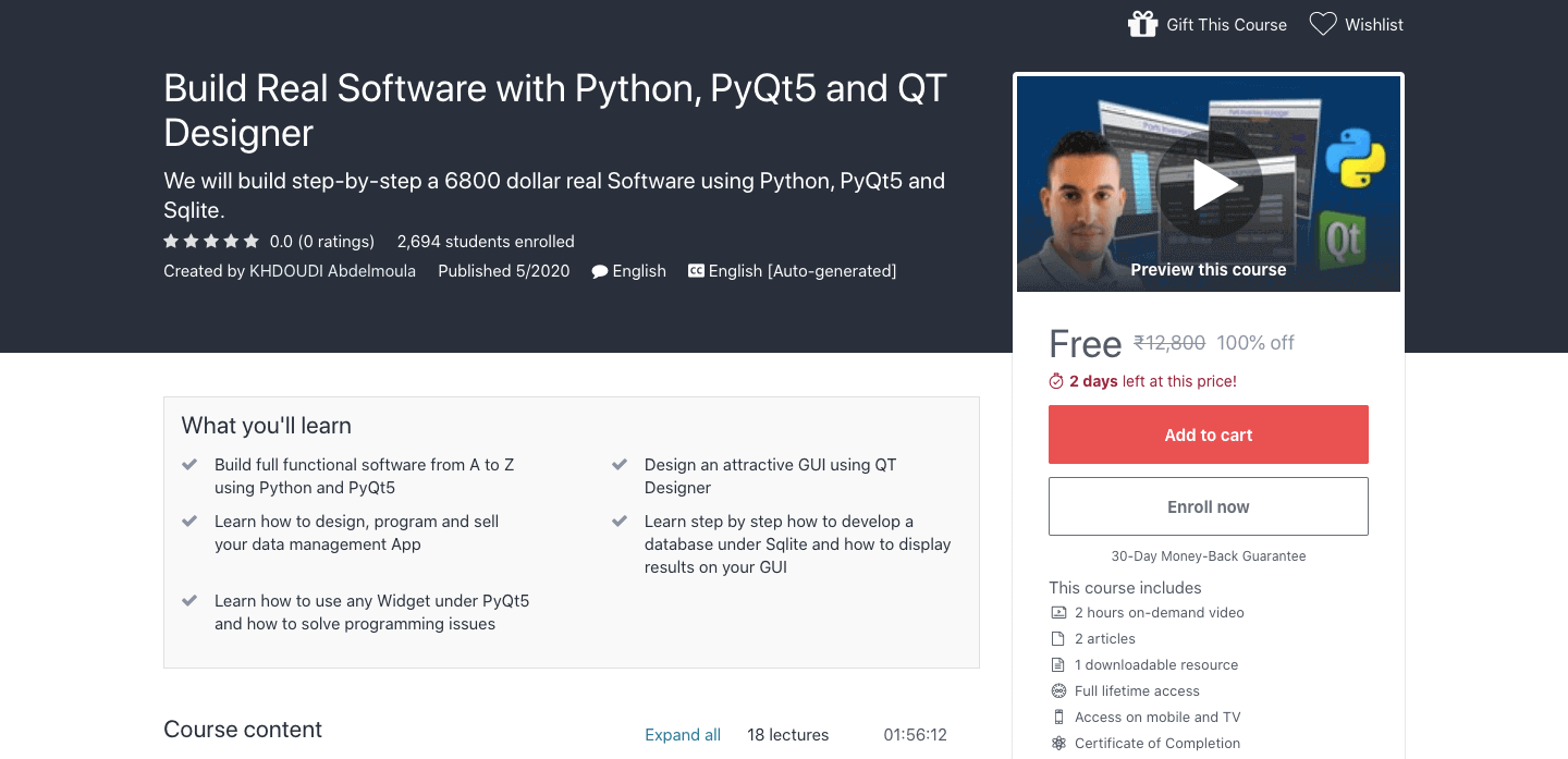 Build Real Software with Python, PyQt5 and QT Designer