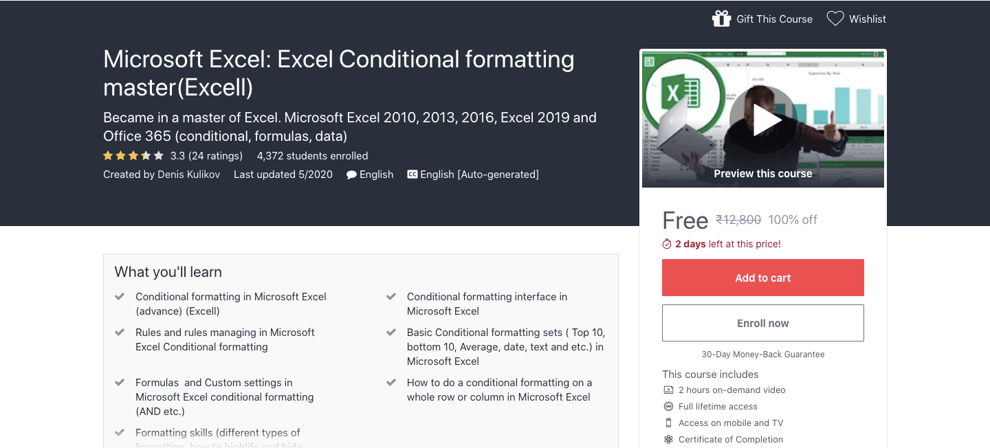 Microsoft Excel: Excel Conditional formatting master(Excell)