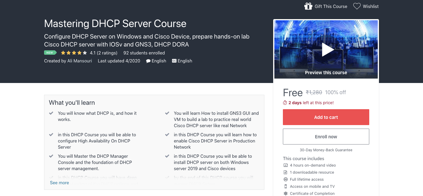 Mastering DHCP Server Course