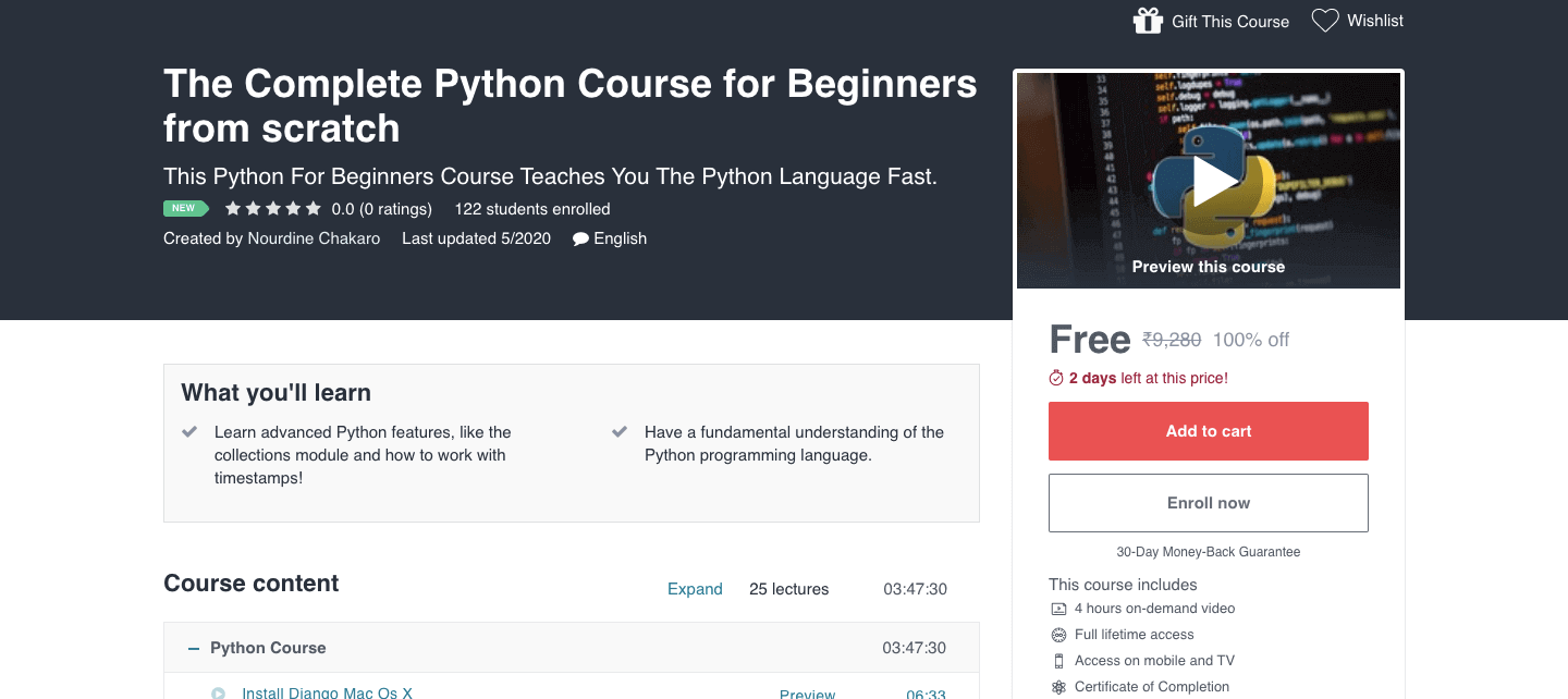 The Complete Python Course for Beginners from scratch