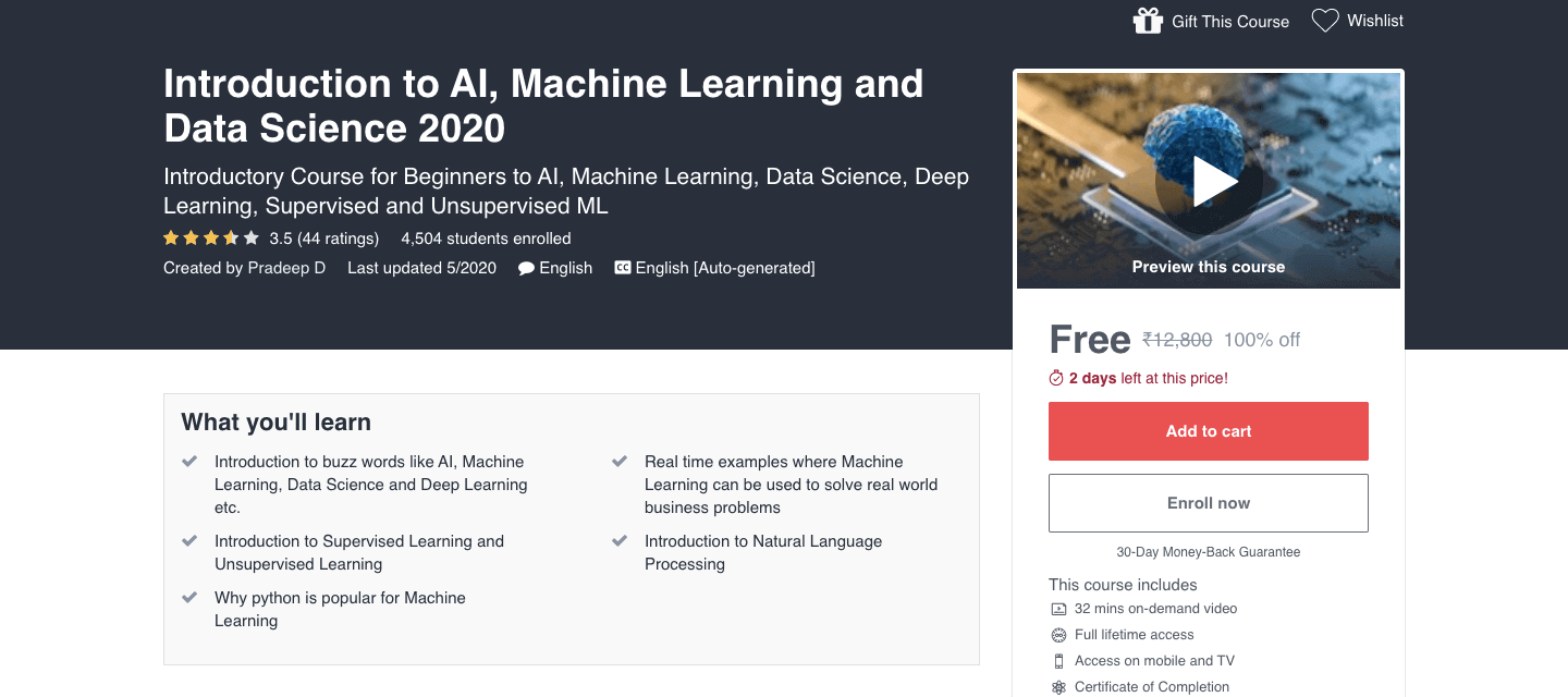 Introduction to AI, Machine Learning and Data Science 2020