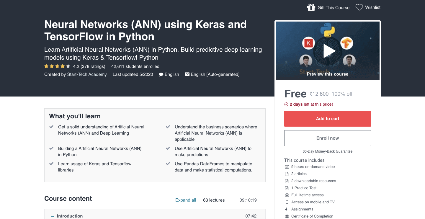 Neural Networks (ANN) using Keras and TensorFlow in Python