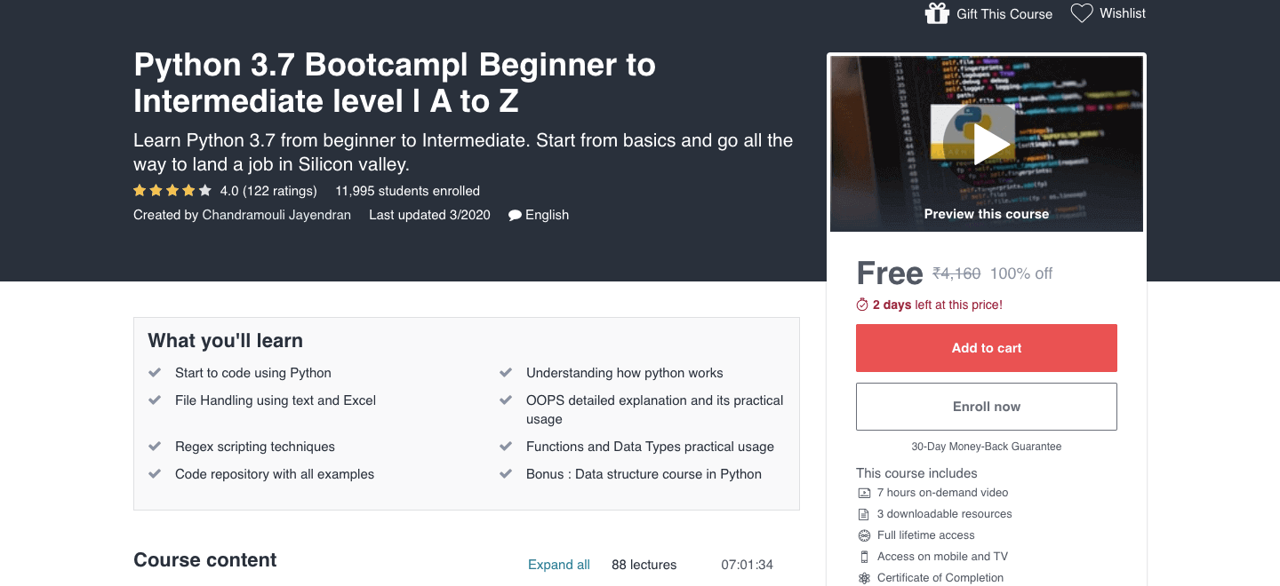 Python 3.7 Bootcamp| Beginner to Intermediate level | A to Z