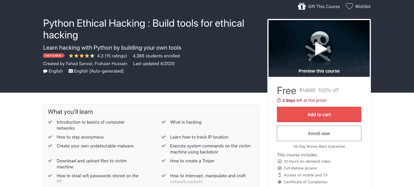 Python Ethical Hacking : Build tools for ethical hacking