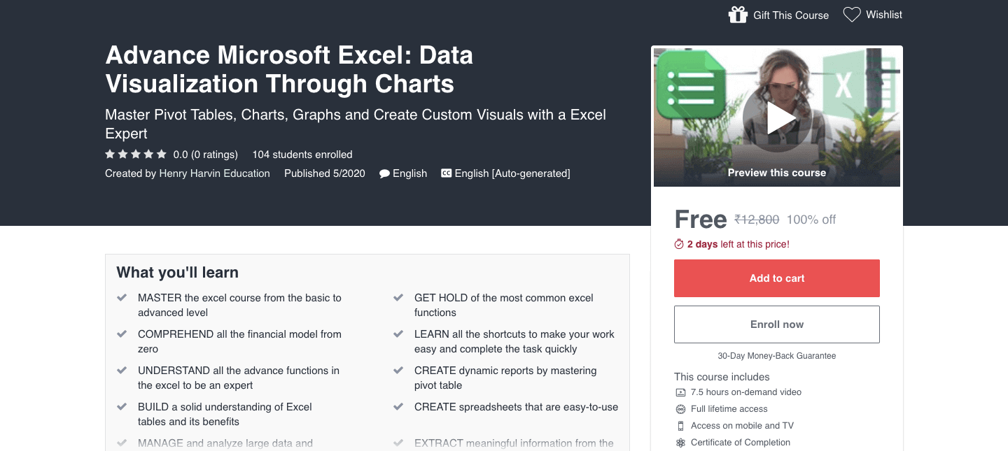 Advance Microsoft Excel: Data Visualization Through Charts