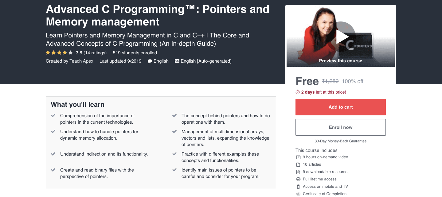 Advanced C Programming™: Pointers and Memory management