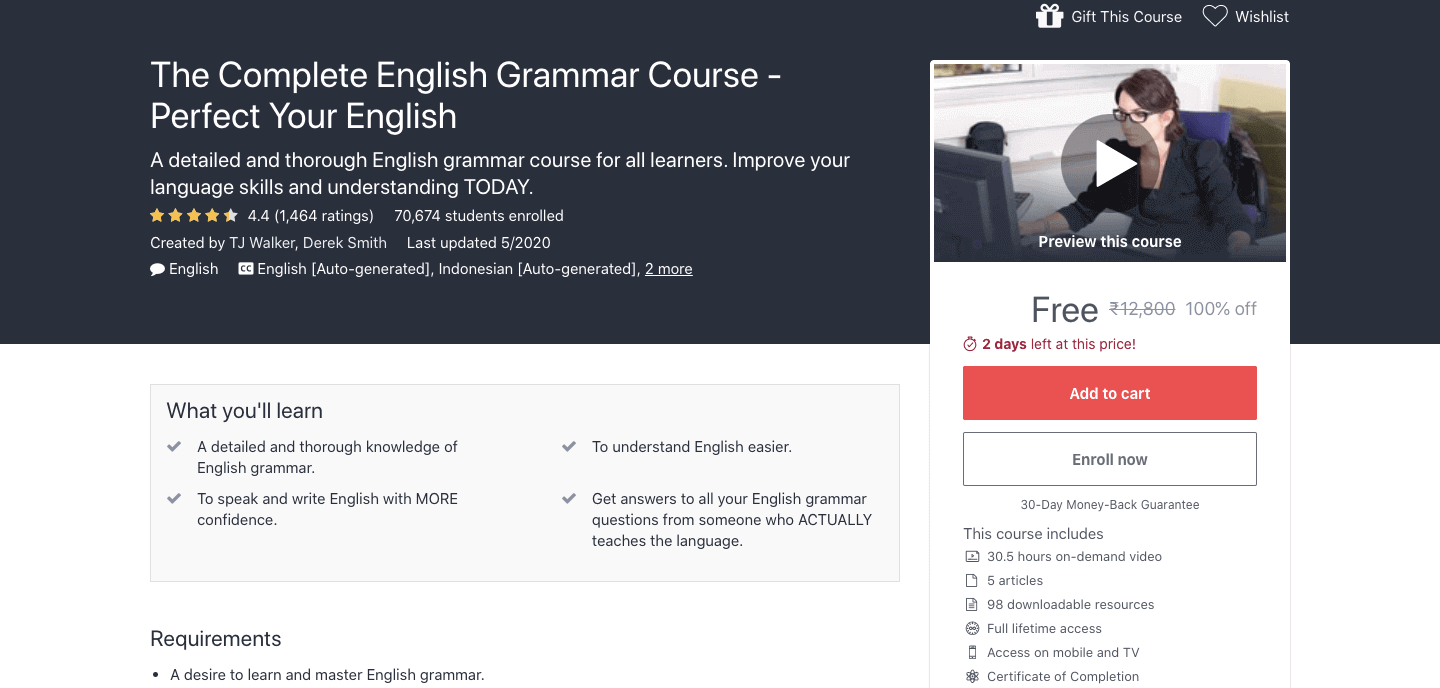 The Complete English Grammar Course - Perfect Your English