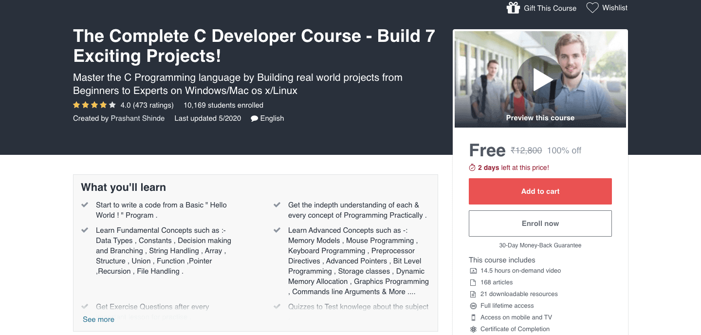 The Complete C Developer Course - Build 7 Exciting Projects!