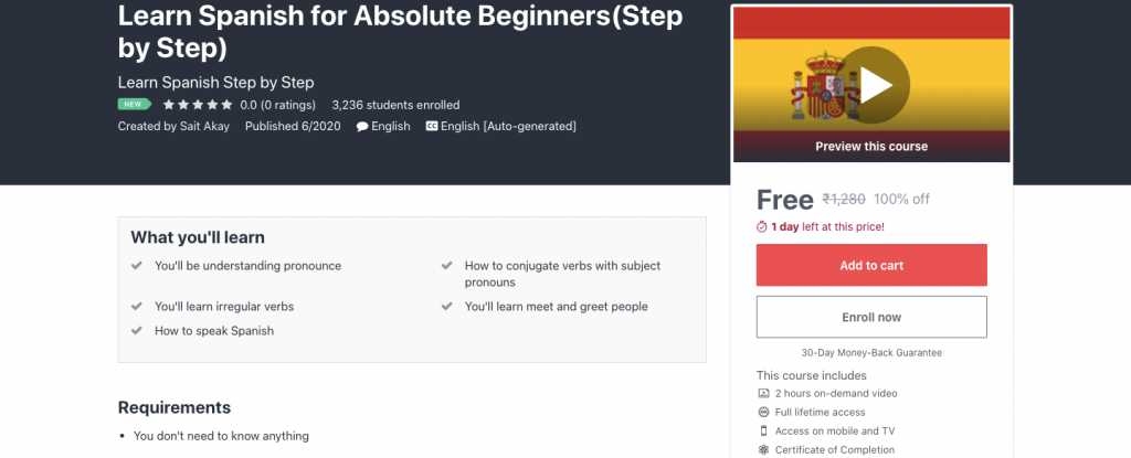 Learn Spanish for Absolute Beginners(Step by Step)